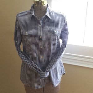 Tommy Hilfiger Gingham Button Down Top